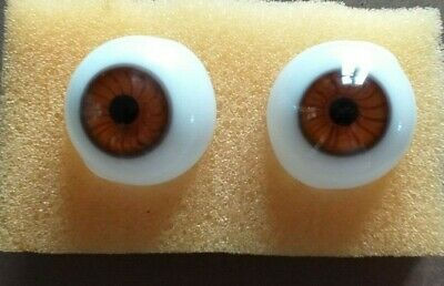 £20.50 • Buy Lauscha Glass Hand Blown  Doll Eyes In Brown Variety Of Sizes