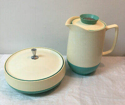 $18 • Buy Vintage Bopp Decker Teal White Ivory Speckled Pitcher And Covered Dish With Lids