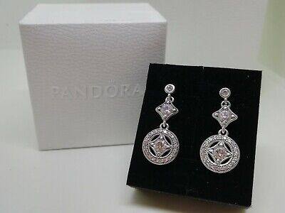 New Genuine Pandora Vintage Allure Drop Silver Earrings Stud £90 Bling • 50£