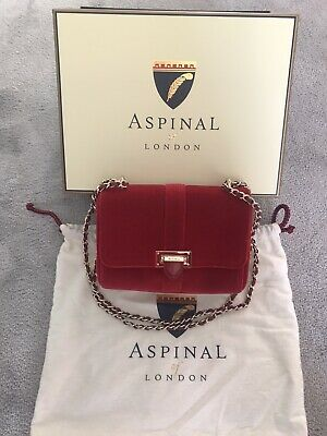Aspinal Of London Red Velvet Lottie Bag • 180£