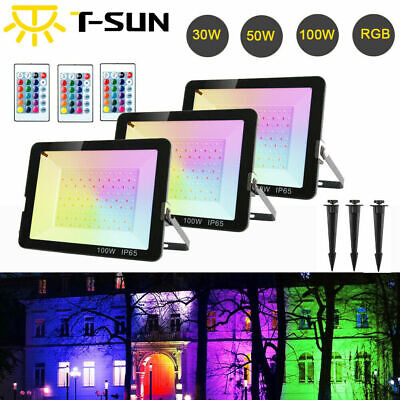 T-SUN 16 Color RGB Changing LED Floodlight Garden Spotlight Ultra Thin + Remote • 19.99£