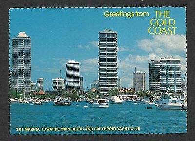AU5.75 • Buy QLD - C1970s POSTCARD - THE SPIT MARINA, SOUTHPORT YACHT CLUB, BROADWATER, QLD