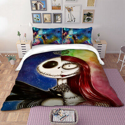 3D Nightmare Before Christmas Duvet Quilt Cover Gothic Bedding Set Pillowcases • 23.24£