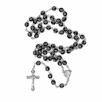 £3.75 • Buy Black Plastic Rosary Beads With Crosses Silver Chain And Cross 55cm