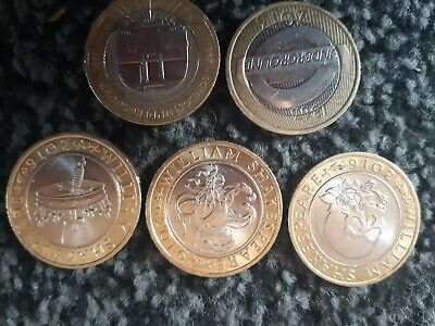 Job Lot 2 Pound Coins X5 LOT7 Including Shakespeare Set And 2013 Underground Set • 10£