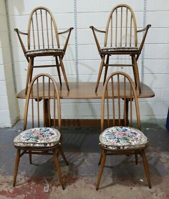 Vintage Mid Century ERCOL Blonde Dining Table & 4 X Windsor Chairs Cushions -254 • 157£