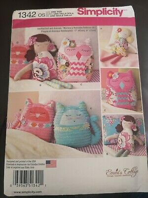 Simplicity Sewing Pattern 1342 - Stuffed Doll & Animals. By Emmi''s Cottage, New • 4.37£