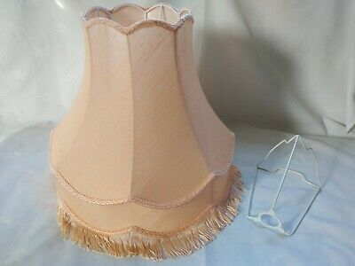 £24.95 • Buy Vintage Double Scallop Peach Lampshade Downton Victorian Style Fringe + Carrier