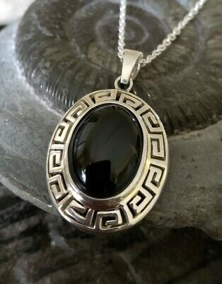 Sterling Silver & Whitby Jet Oval Cabochon Greek Key Design Pendant • 52£