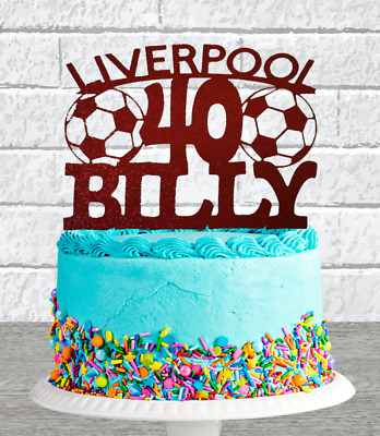 Personalised Glitter Liverpool, Any Name/age Birthday Cake Topper • 6.50£