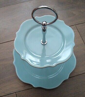 Vintage Laura Ashley 2-Tier Scalloped Cake Stand Utility Blue New Boxed • 29.99£