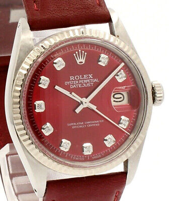 $ CDN6424.70 • Buy Mens Vintage ROLEX Oyster Perpetual Datejust 36mm RED Diamond Dial Watch