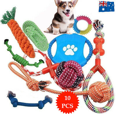 AU14.90 • Buy 10PC Dog Braided Rope Toys Pet Puppy Chew Bite Toy Gift Tough Cotton Clean Teeth