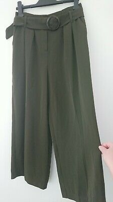 F&F Wide Leg Khaki Cropped Trousers Size 8 • 0.99£