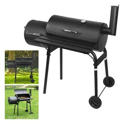 Large Charcoal Bbq Barbecue Smoker Barrel Grill Food Cooking Garden Outdoor Uk • 91.50£