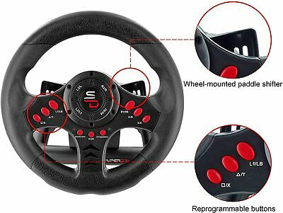 Xbox One Steering Wheel And Pedal Set Gaming Racing Driving Simulator PS4 PS3 UK • 65.98£