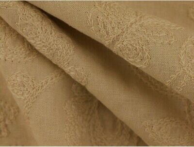Embroidered Linen Fabric - Stone • 8£