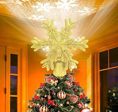 Christmas Tree Topper Snowflake Projector – Indoor LED Rotating • 11.99£
