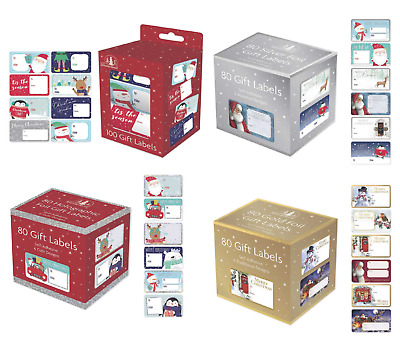 CHRISTMAS GIFT LABELS Self Adhesive Tags Traditional Assorted Stickers Wrap XMAS • 2.39£