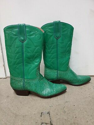Sancho Green Leather Cowboy Western Boots Womens Size 37 EUR 6.5 US • 50.18£