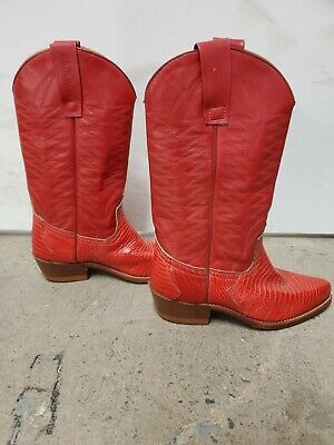 Sancho Red Leather Cowboy Western Boots Womens Size 36 EUR 6 US • 50.18£
