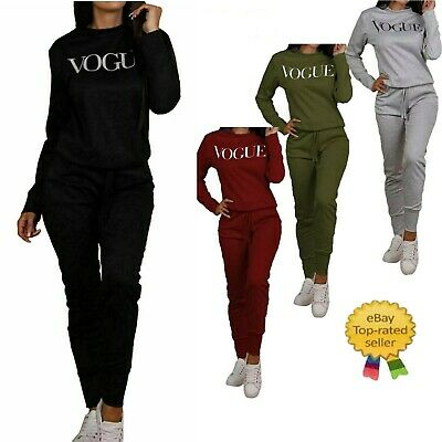 Womens Vogue Print 2 Piece Loungewear Boxy Tracksuit Ladies Top And Jogger Set • 12.99£
