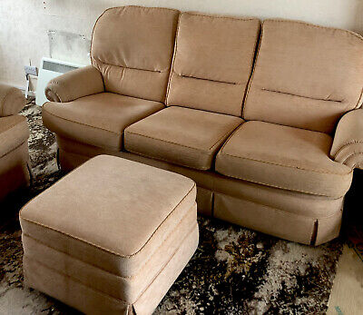 Three Piece Suite With 3 Seater Sofa, Armchair And Footstool - Used • 0.99£