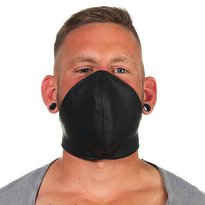 Beef Leather Mouth Covering Wind Protection Face Mask Steampunk Biker Black B • 10.06£