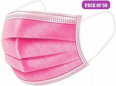 50 Pink Disposable Face Masks 3 Ply Face Covers Mask • 4.95£