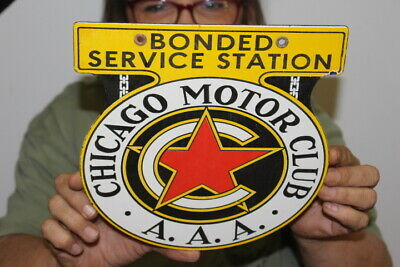 $ CDN48.12 • Buy AAA Chicago Motor Club Bonded Service Station Gas Oil Porcelain Metal Sign