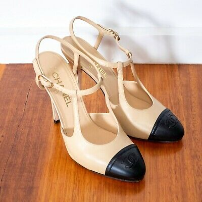 AU700 • Buy Chanel Beige And Black Leather High (100mm) Heels (Size 38C)