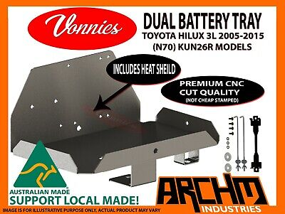AU63.20 • Buy VONNIES Dual Battery Tray Suits N70 Toyota Hilux KUN26R 2005-2015 3L MODELS