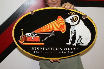 $ CDN67.39 • Buy RCA Victor His Master's Voice Phonograph Gas Oil 2 Side 24  Porcelain Metal Sign