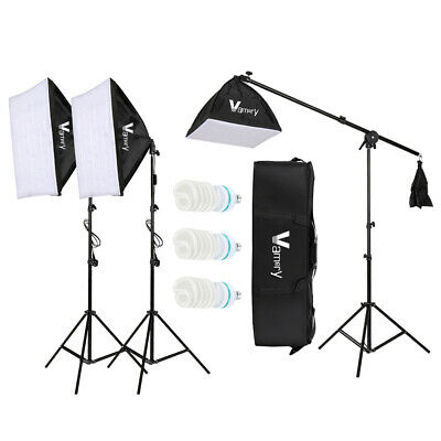 Studio Boom Arm Soft Box Continuous Lighting Kit Light Stand With 3 Softbox • 52.99£