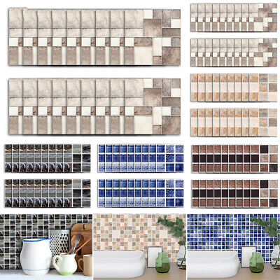 3D Mosaic Wall Tile Stickers Stick On Kitchen Wall Self-adhesive Bathroom Decor • 9.29£