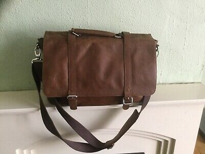 Extra Large M&S Tan Luxury Leather Briefcase Work School Padded Laptop Bag • 20£