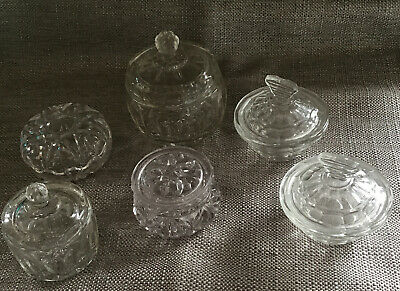 6 Vintage Glass Jars With Lids, Dressing Table / Sugar Bowls ? Pre Owned. • 9.50£