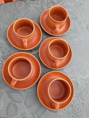 Vintage Denby / Langley 'Canterbury' Cups & Saucers X 5. Lovely Condition.  • 10£
