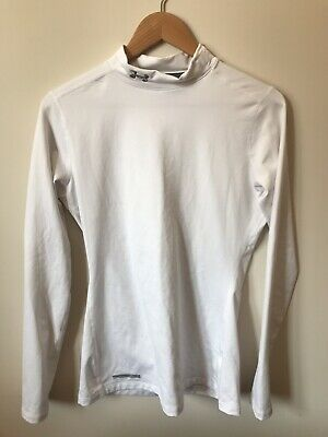 Mens Under Armour Cold Gear Base Layer Compression Top, White, Size Large • 3£