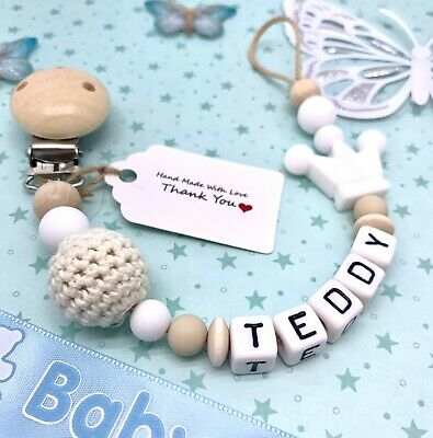 £7.75 • Buy Personalised Baby Dummy Clip Pacifier Chain Silicone Wooden Baby Shower Gift