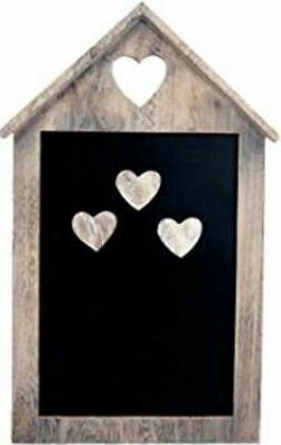 £5.95 • Buy House Shaped Wooden Magnetic Memo Organiser Chalkboard With 3 Magnetic Hearts
