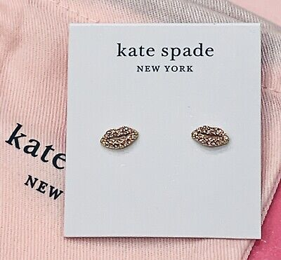 $ CDN63.13 • Buy NWT Kate Spade Pink Pave Lips Earrings Studs Tiny Pink Stones Pucker Up LOVE NEW