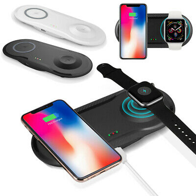 $ CDN17.12 • Buy 2 In 1 Fast Qi Wireless Charger Charging Dock For IWatch IPhone Samsung Galaxy