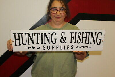 $ CDN120.13 • Buy Large Hunting & Fishing Supplies Gun Lure Gas Oil 24  Porcelain Metal Sign
