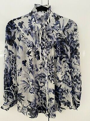 AU45 • Buy Witchery Floral High Neck Blouse (Navy & White) - Size 8 - BNWOT **SAMPLE**