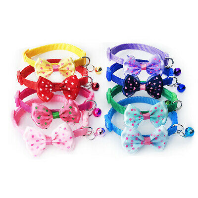 Cute Bow Tie Adjustable Kitten Cat Collar With Bell And Snap Buckle • 2.09£