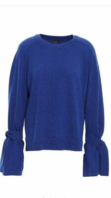 N PEAL MIDNIGHT BLUE 100% THICK CASHMERE JUMPER L Fit Uk12 & 14 TIE SLEEVES £299 • 120£