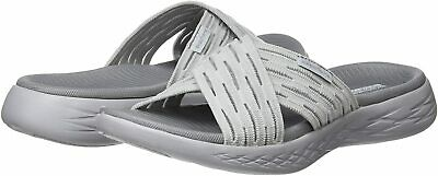 Skechers Women's Shoes Sunrise Fabric Open Toe Casual Slide, Grey, Size 10.0 • 22.99£