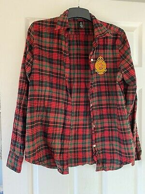 Ladies Red Checked Ralph Lauren Shirt. Size M. Worn Once • 10.50£