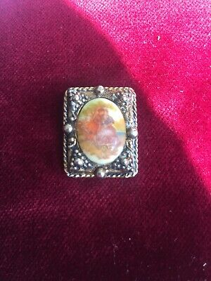 Vintage Costume Jewellery Small Pin Brooch Metal With Porcelain Pastoral Scene  • 4.99£